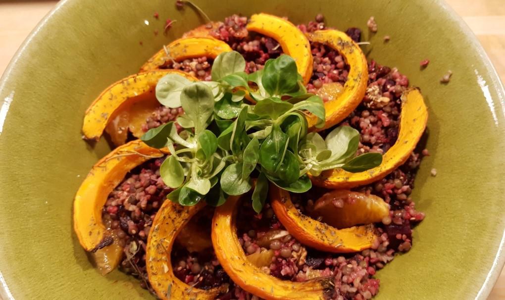 Salade lentille-quinoa betterave-butternut